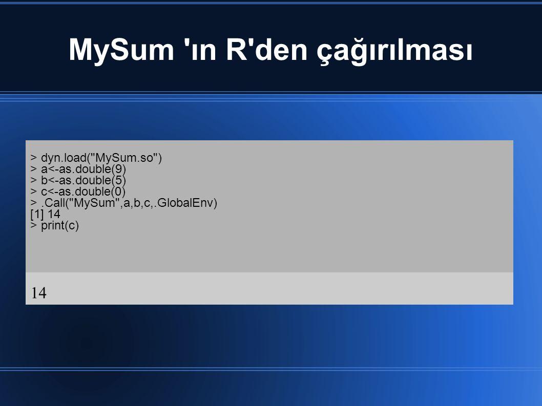 MySum ın R den çağırılması