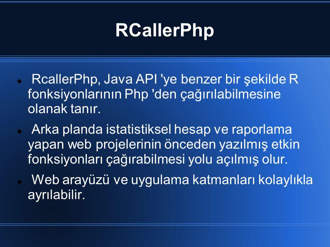 RCallerPhp RcallerPhp, Java API ye benzer bir şekilde R fonksiyonlarının Php den çağırılabilmesine olanak tanır.