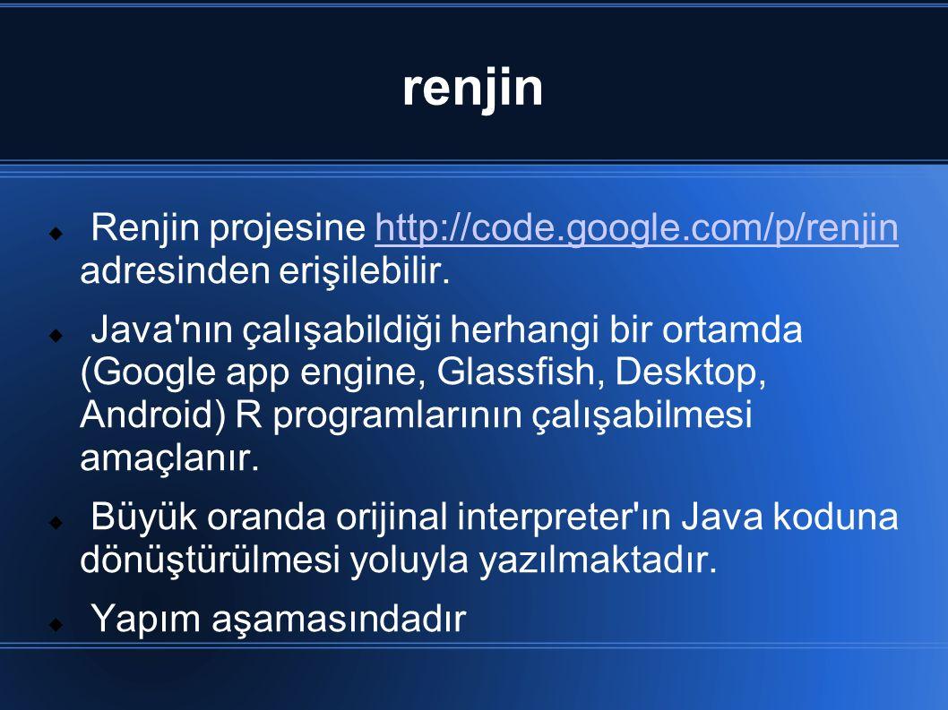 renjin Renjin projesine http://code.google.com/p/renjin adresinden erişilebilir.