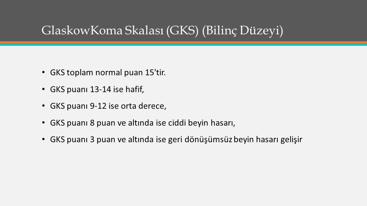 GlaskowKoma Skalası (GKS) (Bilinç Düzeyi)