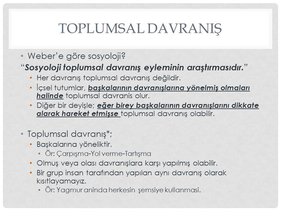 TOPLUMSAL DAVRANIŞ Weber'e göre sosyoloji