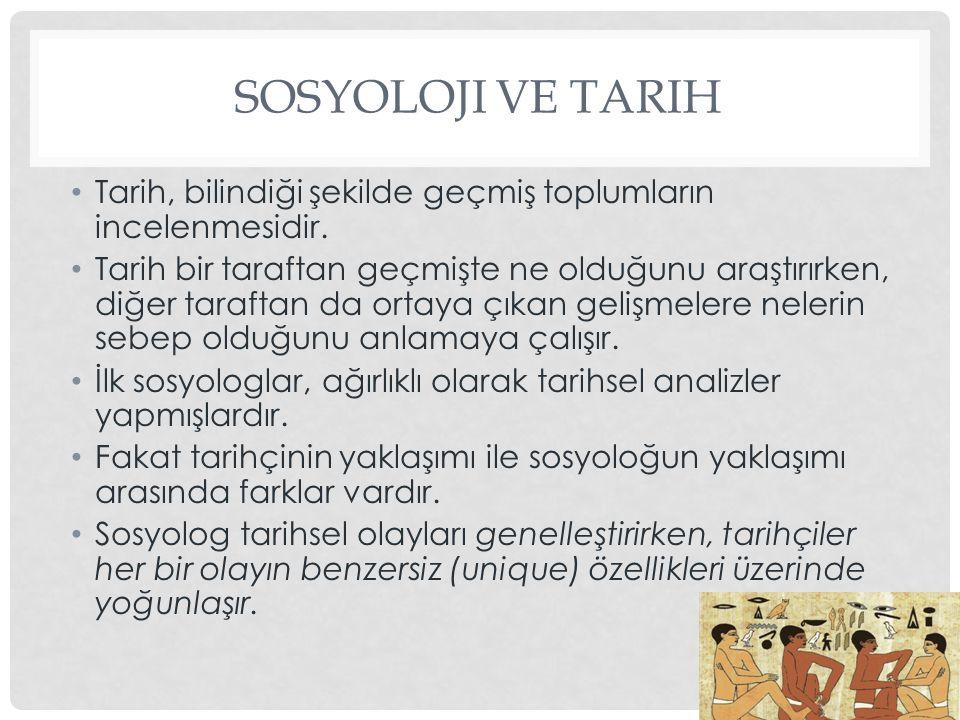 Sosyoloji ve Tarih Tarih, bilindiği şekilde geçmiş toplumların incelenmesidir.