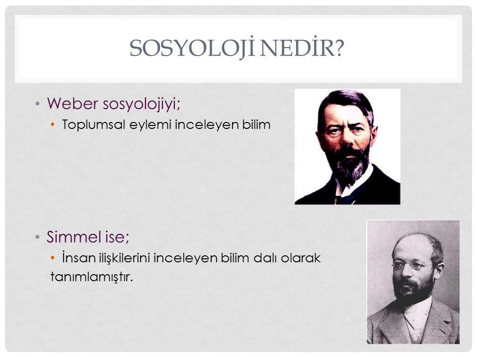 Sosyolojİ Nedİr Weber sosyolojiyi; Simmel ise;
