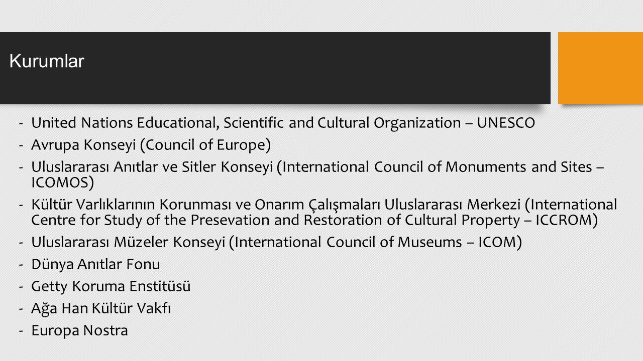 Kurumlar United Nations Educational, Scientific and Cultural Organization – UNESCO. Avrupa Konseyi (Council of Europe)