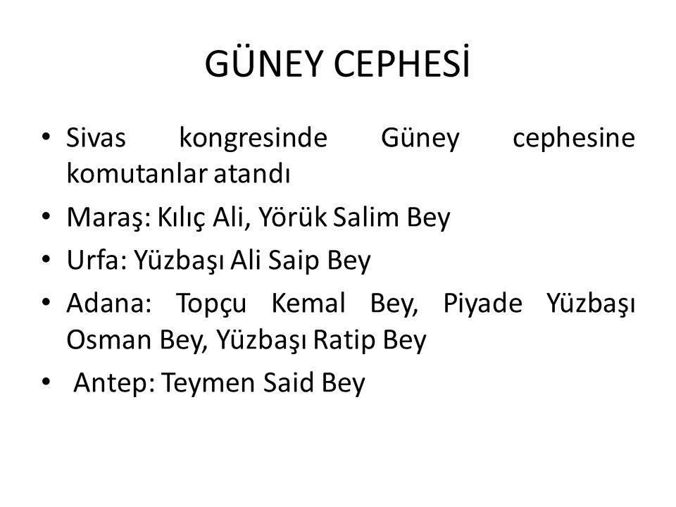 GÜNEY CEPHESİ Sivas kongresinde Güney cephesine komutanlar atandı