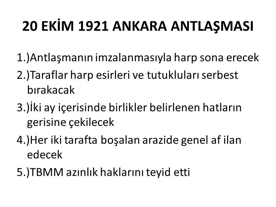 20 EKİM 1921 ANKARA ANTLAŞMASI
