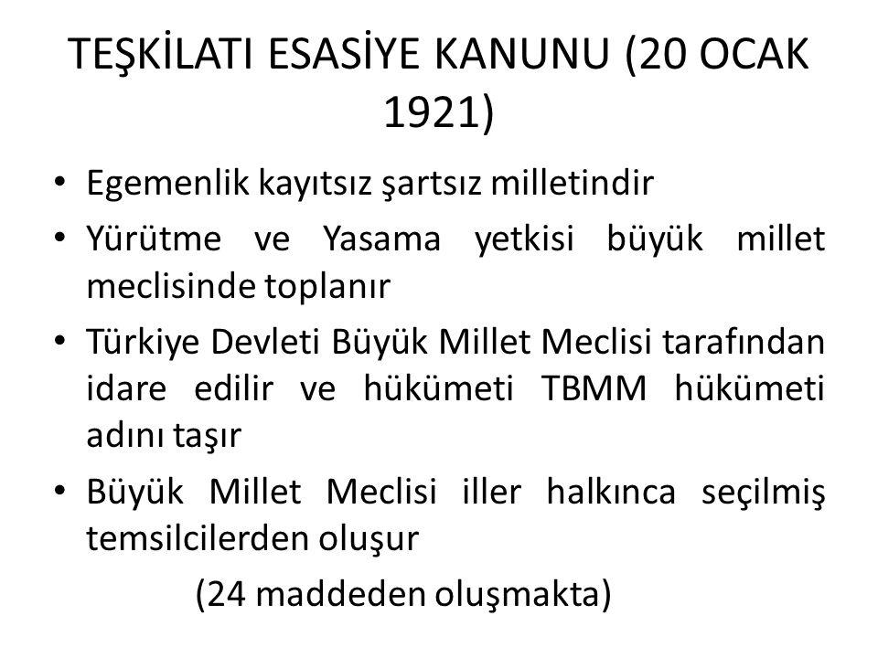 TEŞKİLATI ESASİYE KANUNU (20 OCAK 1921)