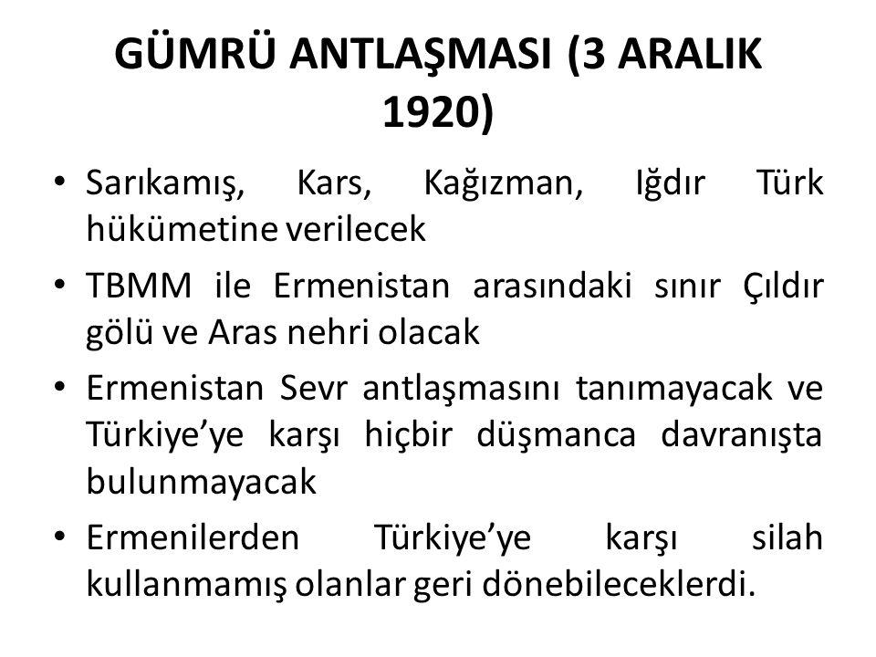 GÜMRÜ ANTLAŞMASI (3 ARALIK 1920)
