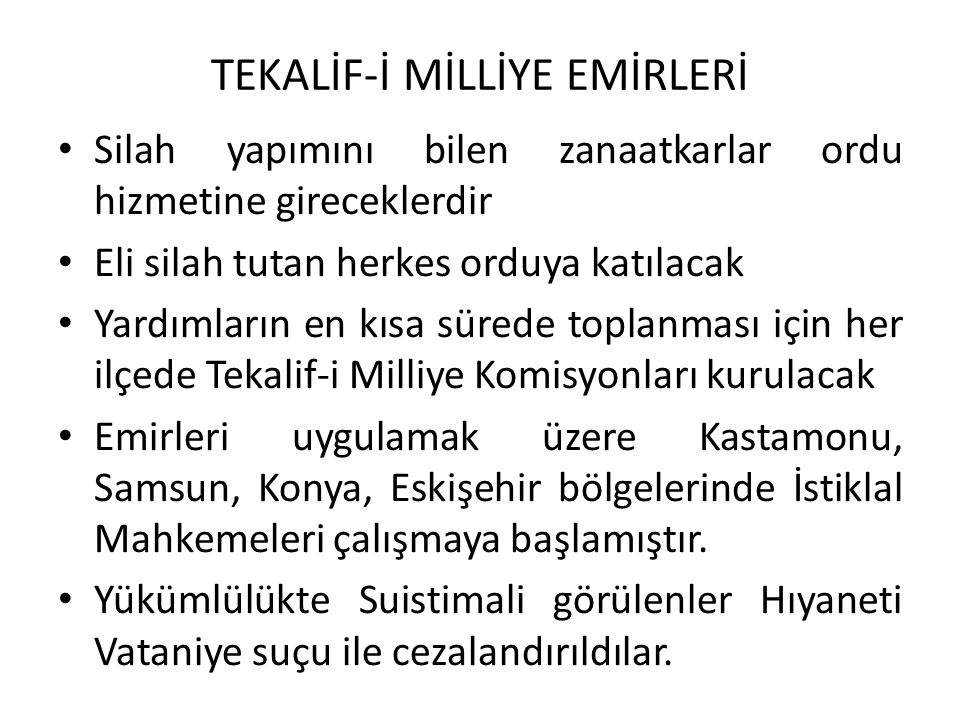TEKALİF-İ MİLLİYE EMİRLERİ