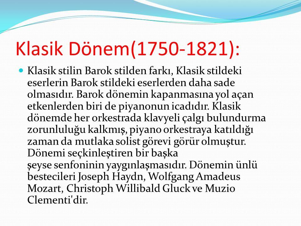 Klasik Dönem(1750-1821):