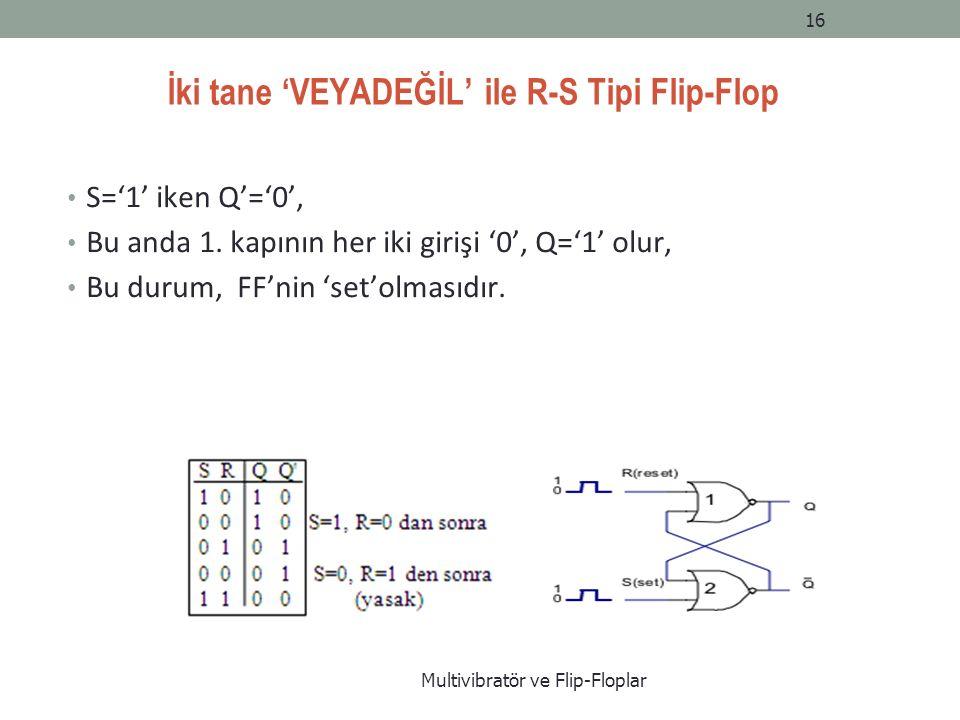İki tane 'VEYADEĞİL' ile R-S Tipi Flip-Flop