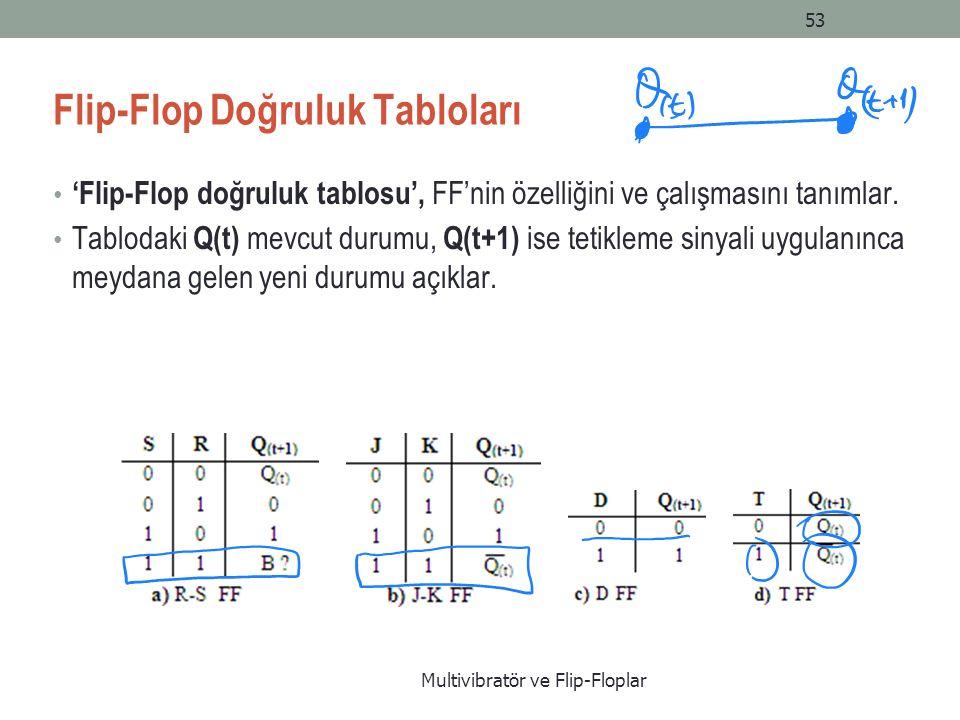 Flip-Flop Doğruluk Tabloları