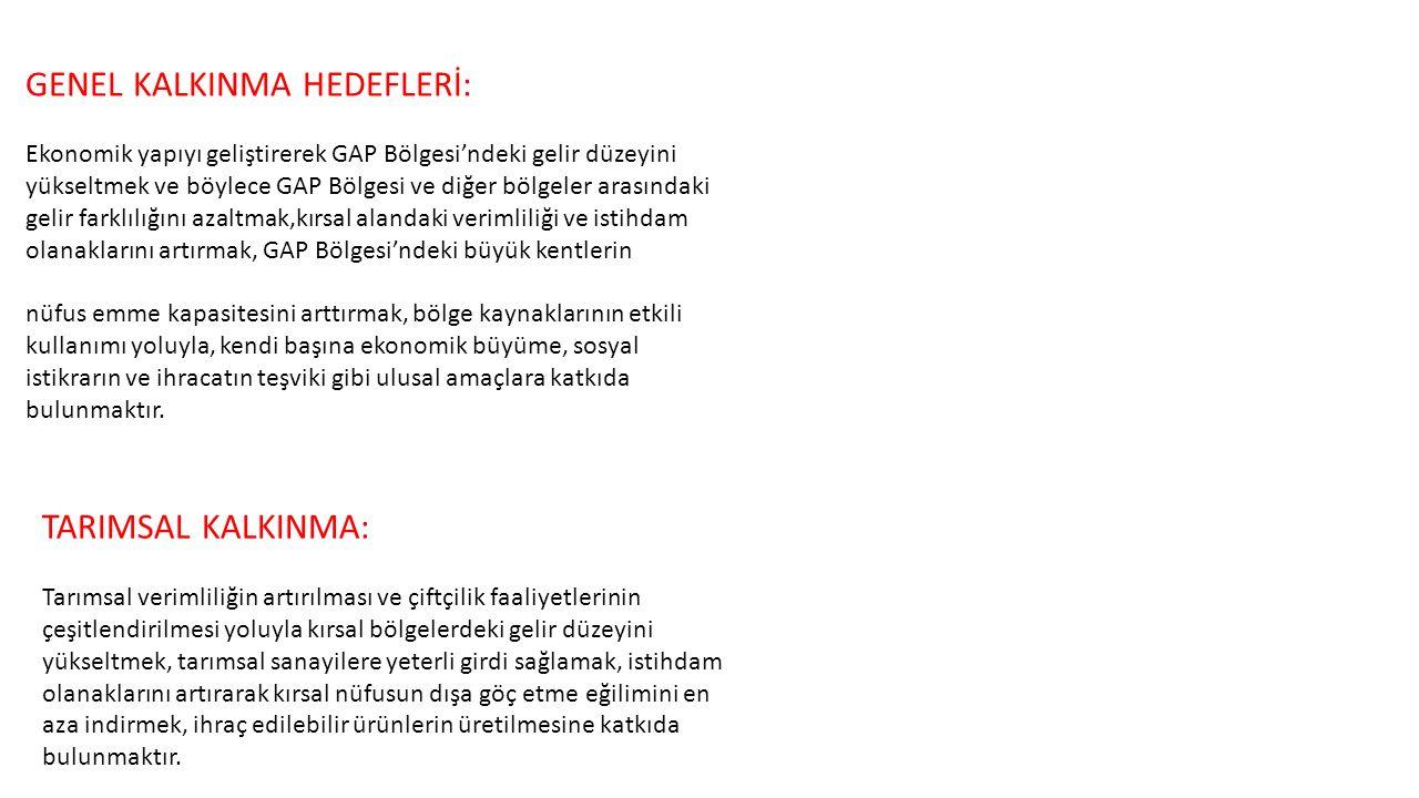 GENEL KALKINMA HEDEFLERİ:
