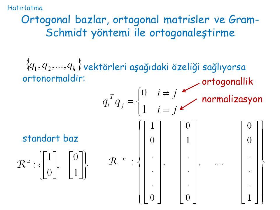 Hatırlatma Ortogonal bazlar, ortogonal matrisler ve Gram-Schmidt yöntemi ile ortogonaleştirme.