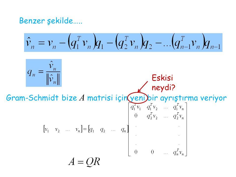 Benzer şekilde….. Eskisi neydi Gram-Schmidt bize A matrisi için yeni bir ayrıştırma veriyor