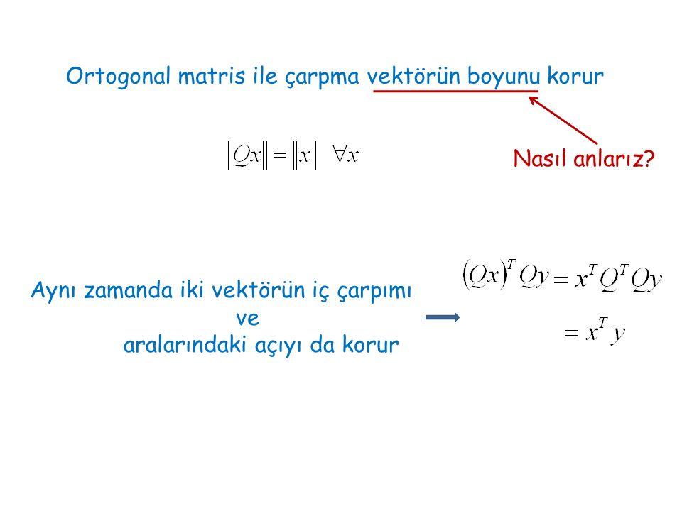 Ortogonal matris ile çarpma vektörün boyunu korur