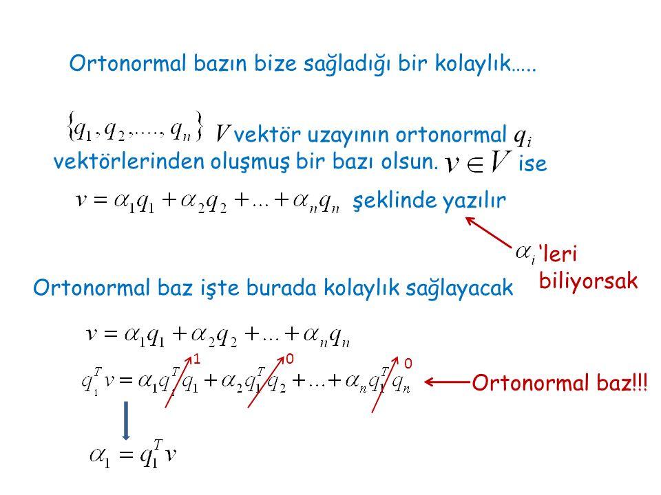 V vektör uzayının ortonormal qi