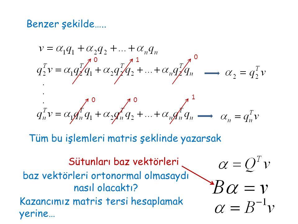 baz vektörleri ortonormal olmasaydı nasıl olacaktı