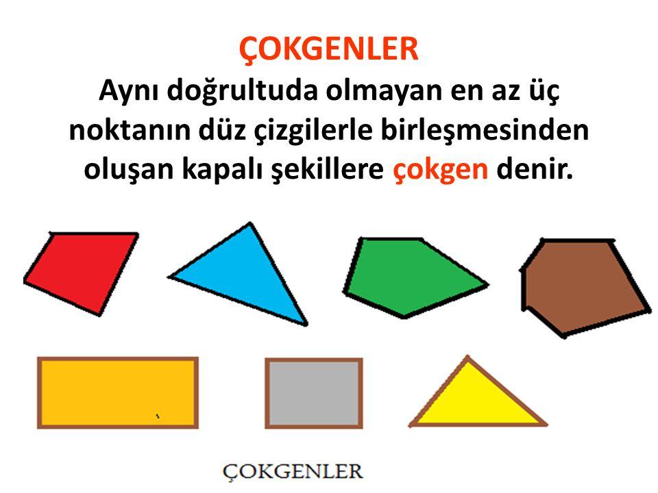 ÇOKGENLER Aynı doğrultuda olmayan en az üç noktanın düz çizgilerle birleşmesinden oluşan kapalı şekillere çokgen denir.