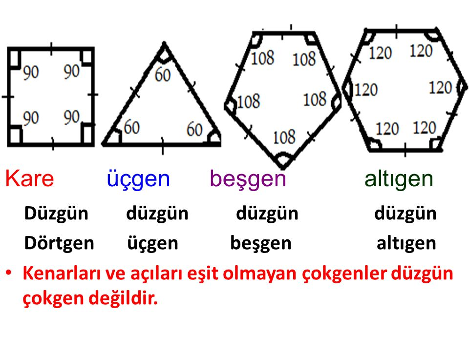 Kare üçgen beşgen altıgen