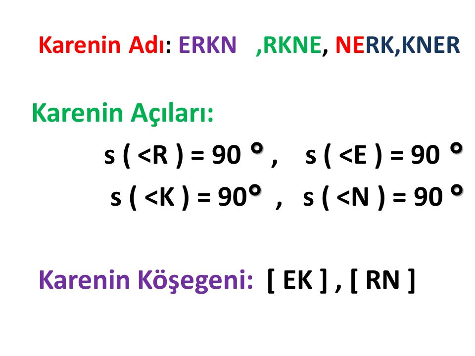 Karenin Adı: ERKN ,RKNE, NERK,KNER