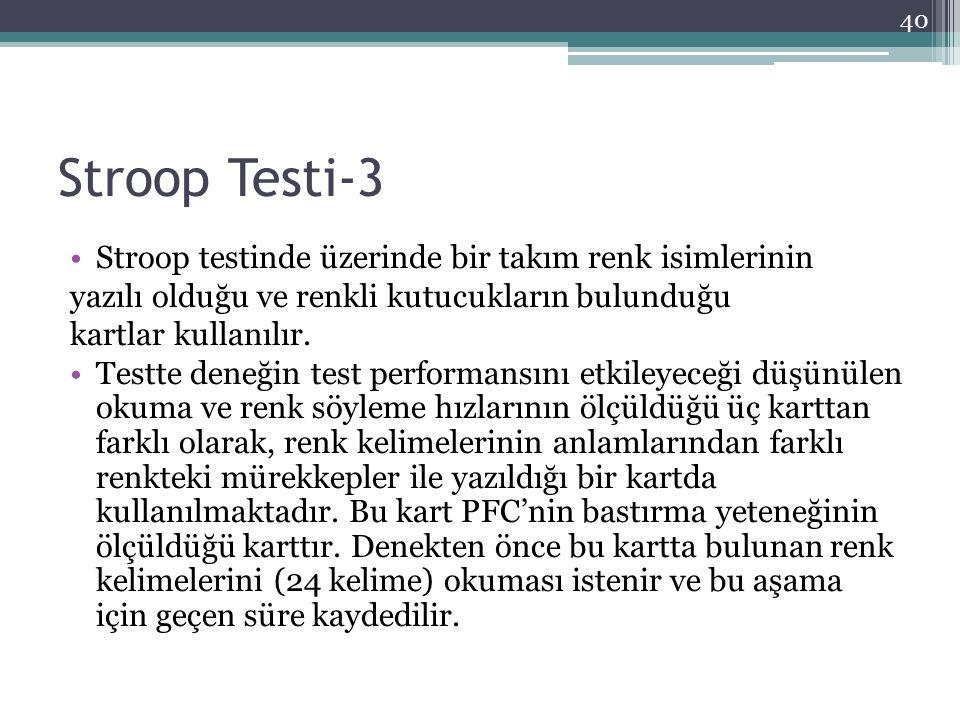 Stroop Testi-3 Stroop testinde üzerinde bir takım renk isimlerinin