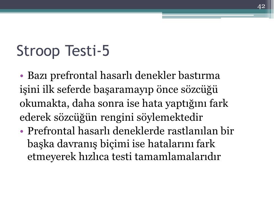 Stroop Testi-5 Bazı prefrontal hasarlı denekler bastırma