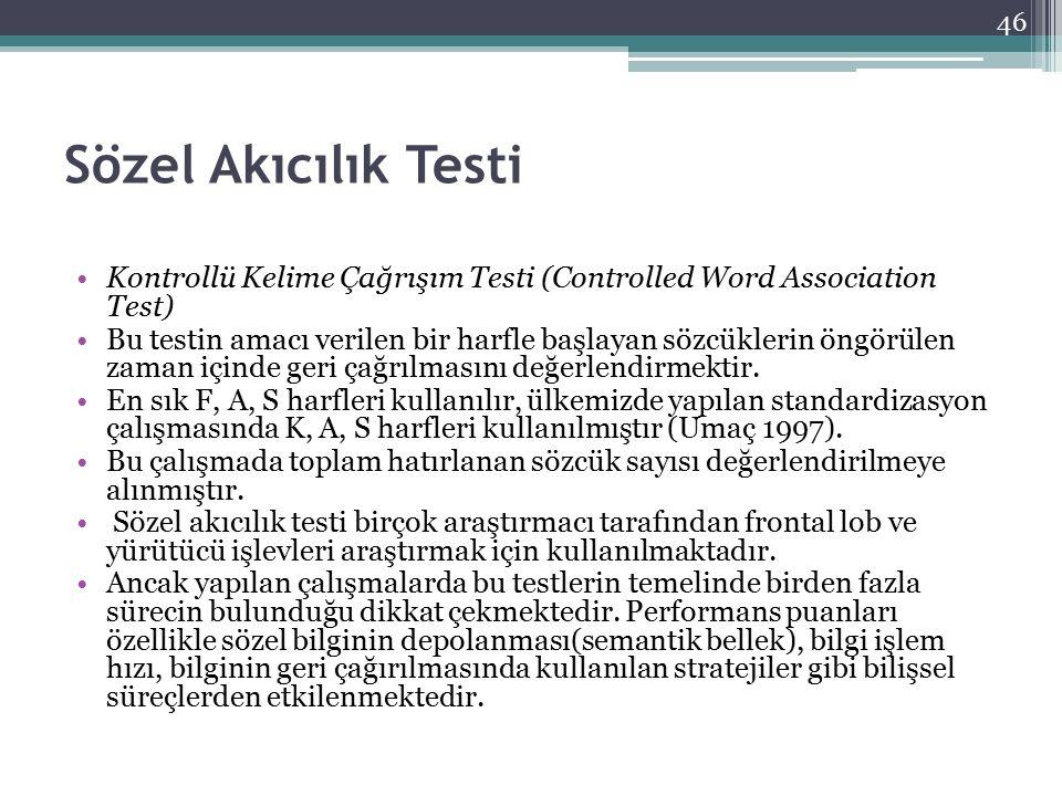 Sözel Akıcılık Testi Kontrollü Kelime Çağrışım Testi (Controlled Word Association Test)