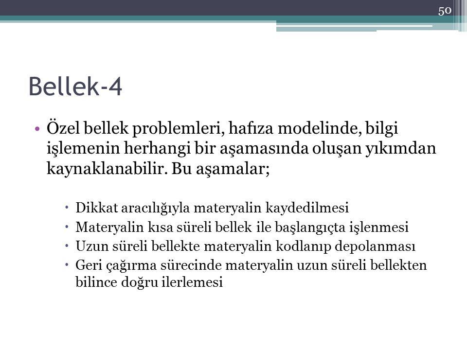 Bellek-4 Özel bellek problemleri, hafıza modelinde, bilgi işlemenin herhangi bir aşamasında oluşan yıkımdan kaynaklanabilir. Bu aşamalar;