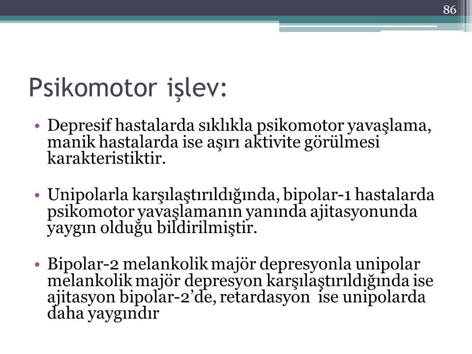Psikomotor işlev: Depresif hastalarda sıklıkla psikomotor yavaşlama, manik hastalarda ise aşırı aktivite görülmesi karakteristiktir.