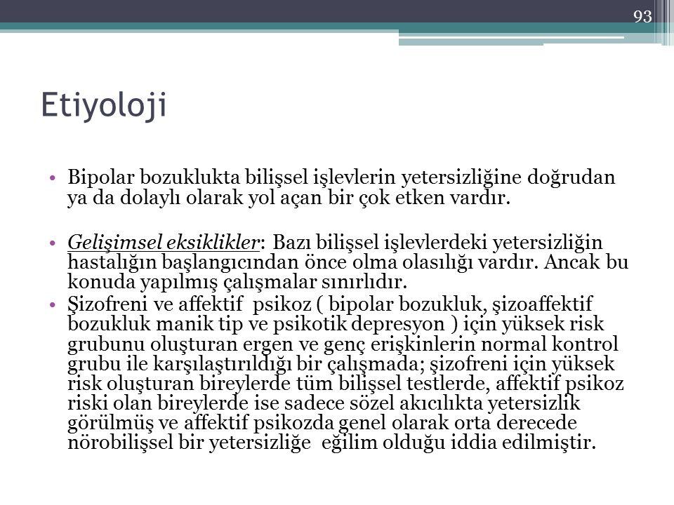 Etiyoloji Bipolar bozuklukta bilişsel işlevlerin yetersizliğine doğrudan ya da dolaylı olarak yol açan bir çok etken vardır.