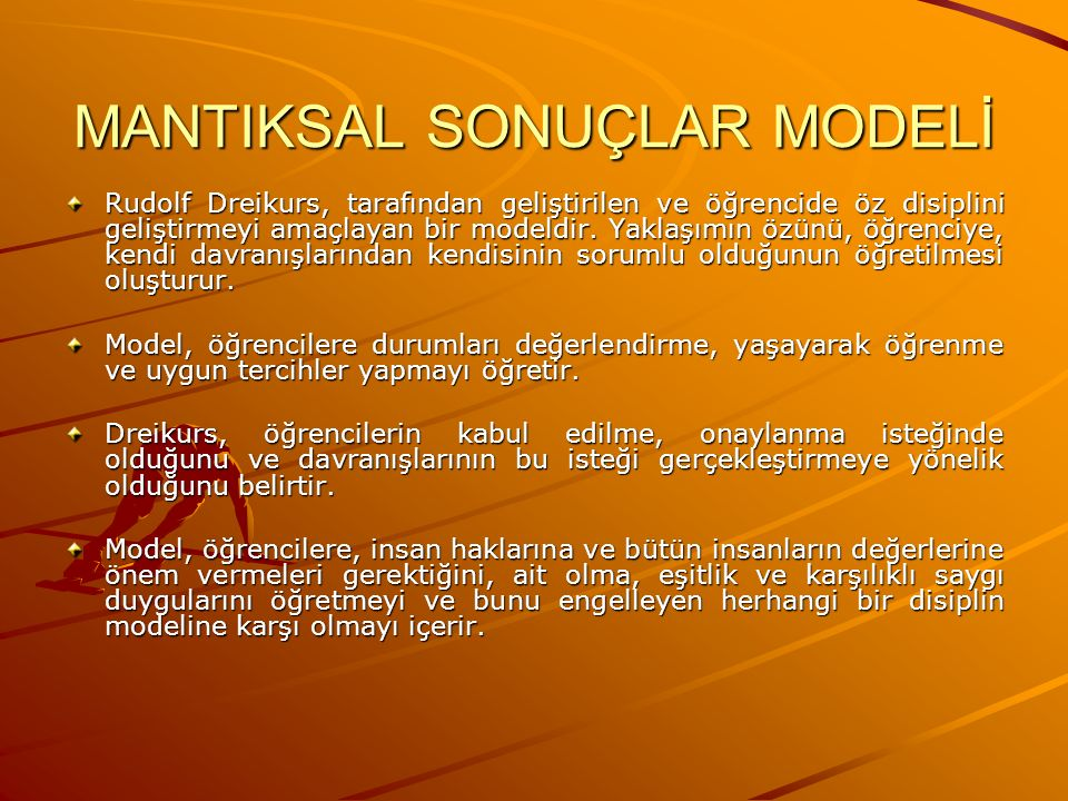 MANTIKSAL SONUÇLAR MODELİ