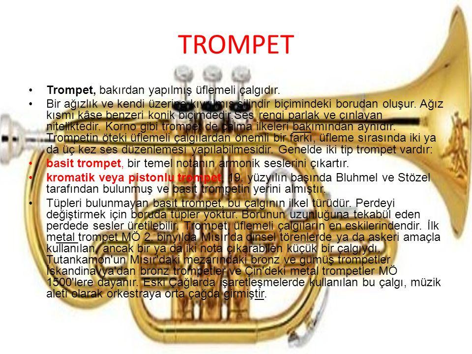 TROMPET Trompet, bakırdan yapılmış üflemeli çalgıdır.
