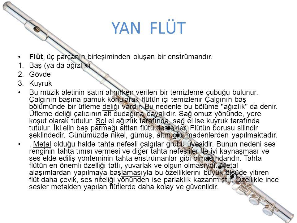 YAN FLÜT Flüt, üç parçanın birleşiminden oluşan bir enstrümandır.
