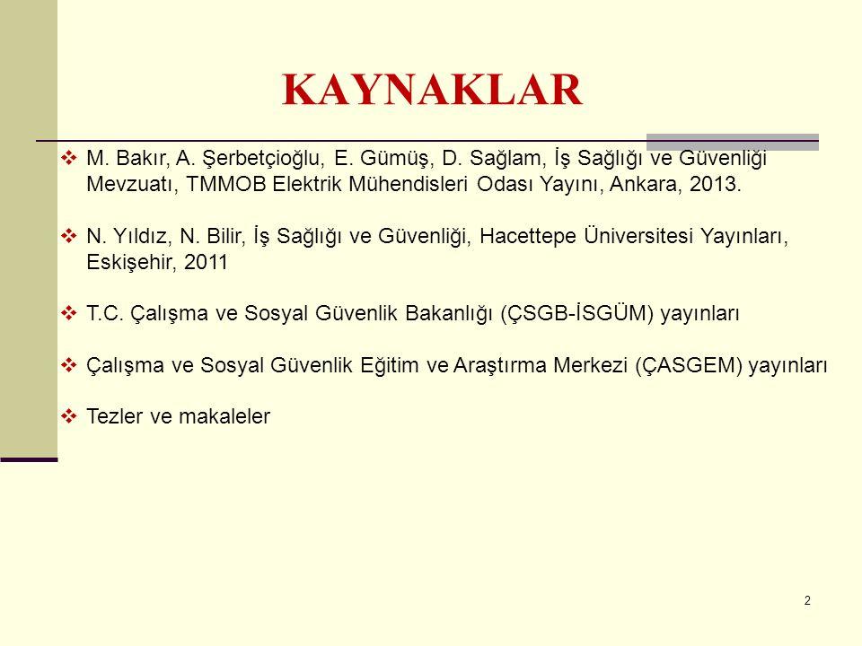 KAYNAKLAR M. Bakır, A. Şerbetçioğlu, E. Gümüş, D. Sağlam, İş Sağlığı ve Güvenliği Mevzuatı, TMMOB Elektrik Mühendisleri Odası Yayını, Ankara, 2013.