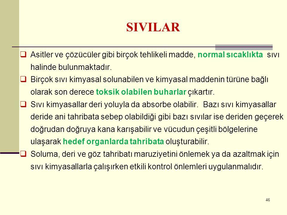SIVILAR Asitler ve çözücüler gibi birçok tehlikeli madde, normal sıcaklıkta sıvı halinde bulunmaktadır.