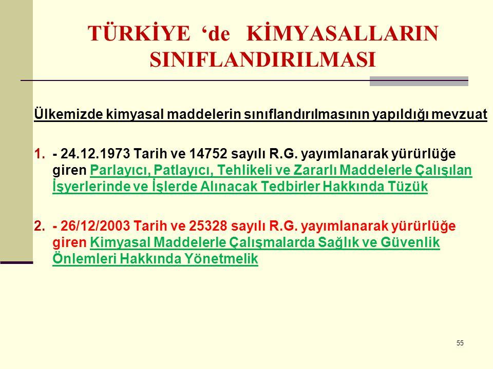TÜRKİYE 'de KİMYASALLARIN SINIFLANDIRILMASI