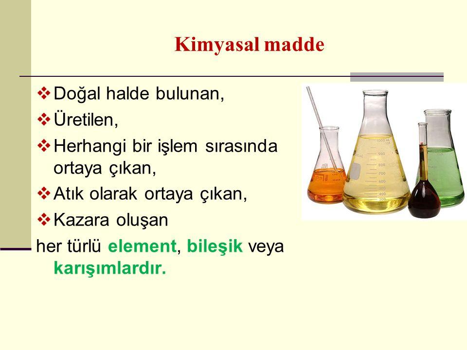 Kimyasal madde Doğal halde bulunan, Üretilen,