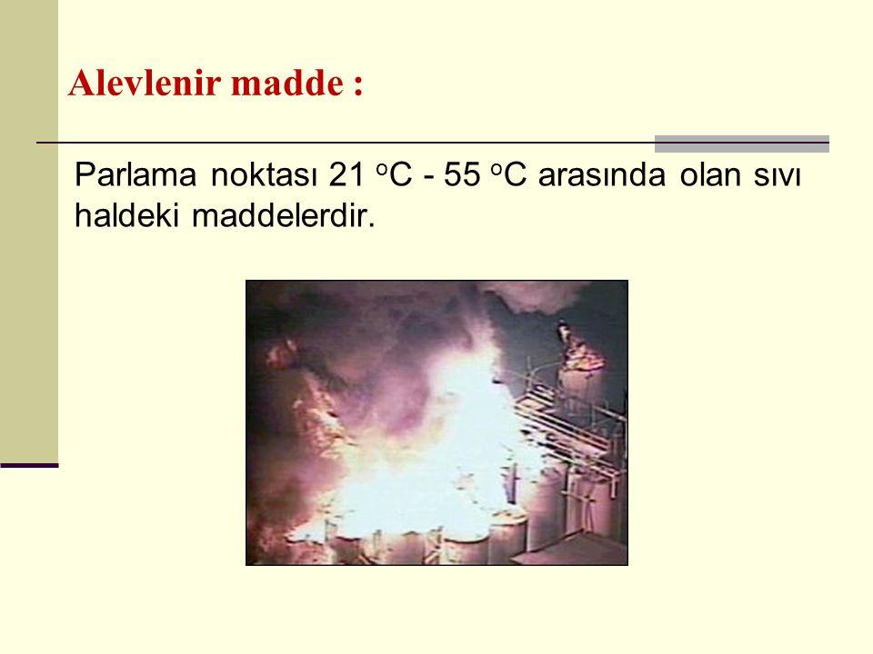 Alevlenir madde : Parlama noktası 21 oC - 55 oC arasında olan sıvı haldeki maddelerdir.