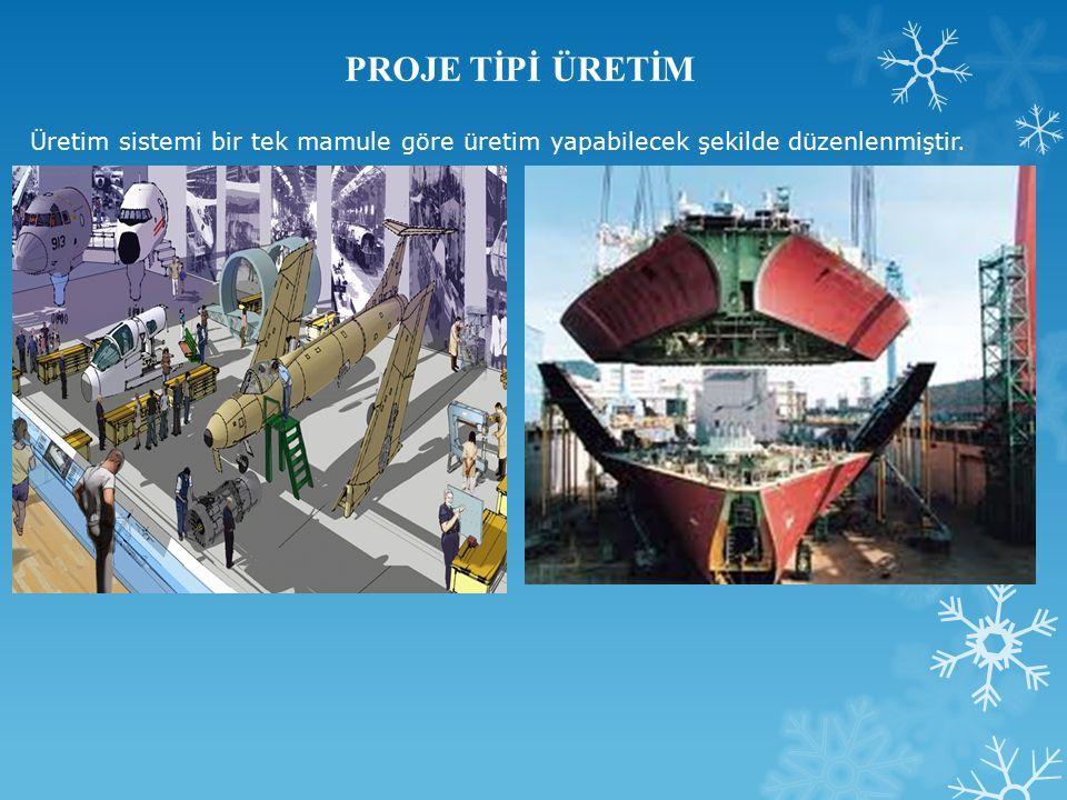 Üretim sistemi bir tek mamule göre üretim yapabilecek şekilde düzenlenmiştir.