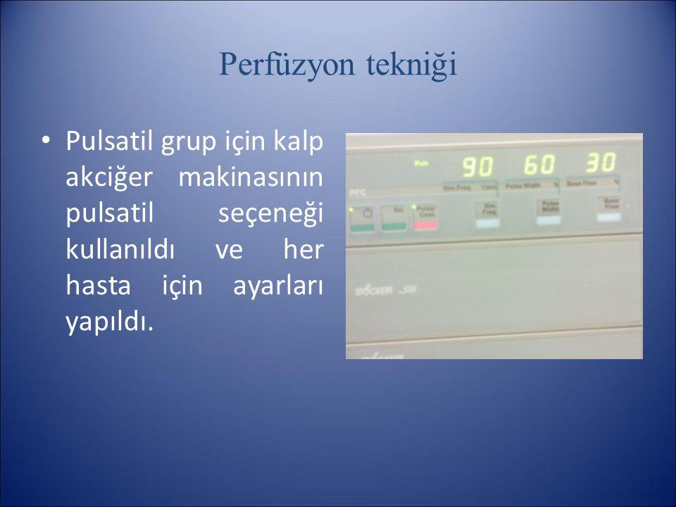 Perfüzyon tekniği Pulsatil grup için kalp akciğer makinasının pulsatil seçeneği kullanıldı ve her hasta için ayarları yapıldı.