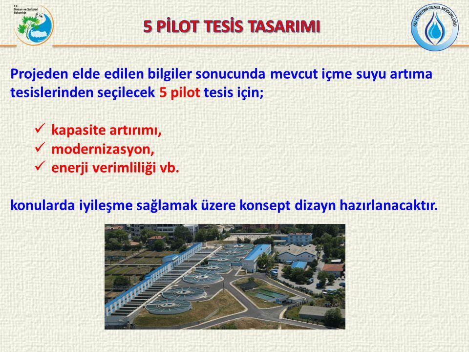 5 PİLOT TESİS TASARIMI Projeden elde edilen bilgiler sonucunda mevcut içme suyu artıma tesislerinden seçilecek 5 pilot tesis için;