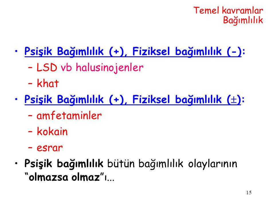 Psişik Bağımlılık (+), Fiziksel bağımlılık (-): LSD vb halusinojenler