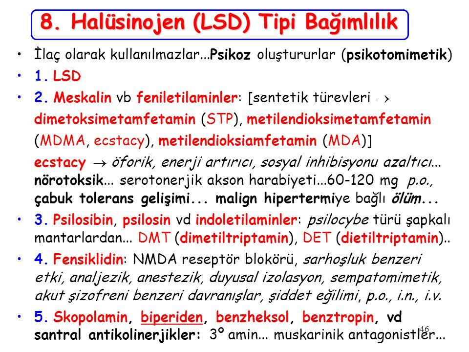 8. Halüsinojen (LSD) Tipi Bağımlılık