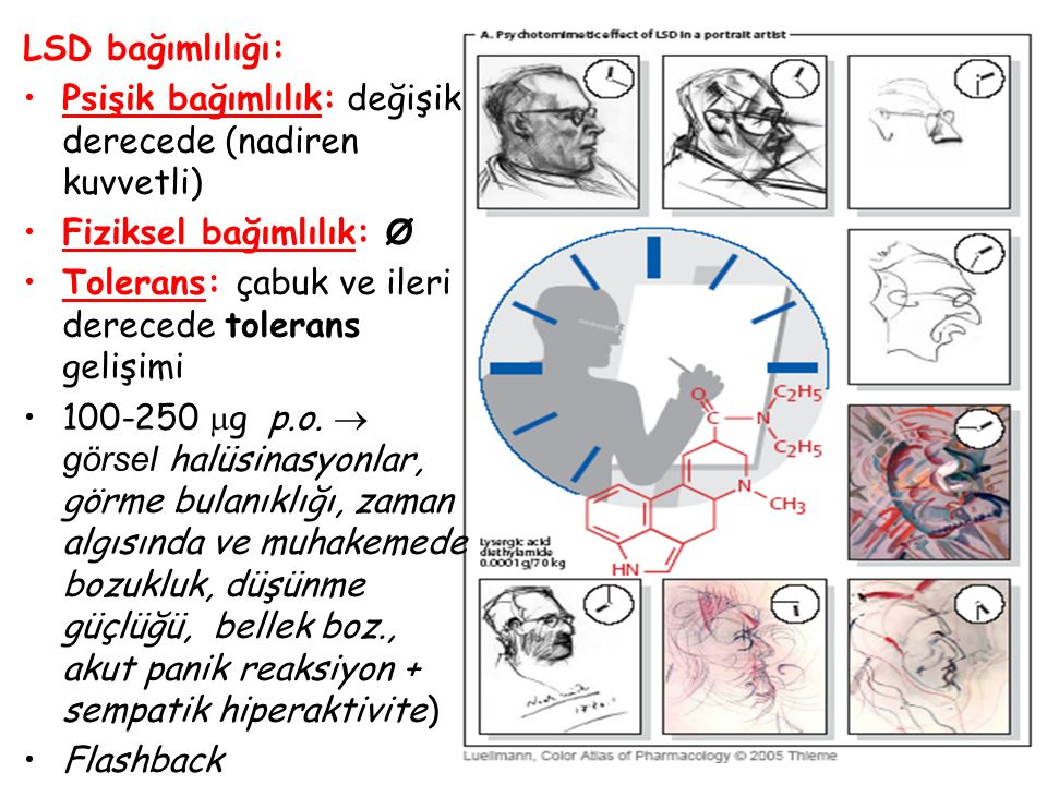LSD bağımlılığı: Psişik bağımlılık: değişik derecede (nadiren kuvvetli) Fiziksel bağımlılık: Ø. Tolerans: çabuk ve ileri derecede tolerans gelişimi.