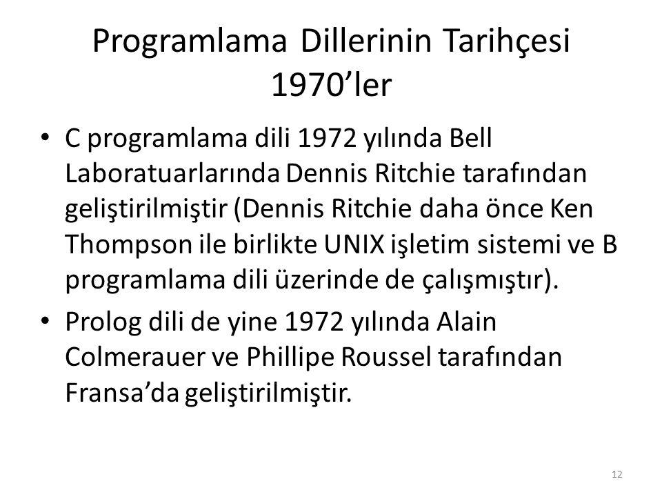 Programlama Dillerinin Tarihçesi 1970'ler