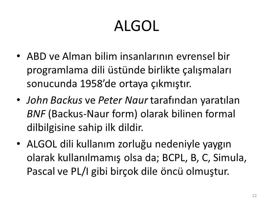 ALGOL ABD ve Alman bilim insanlarının evrensel bir programlama dili üstünde birlikte çalışmaları sonucunda 1958'de ortaya çıkmıştır.