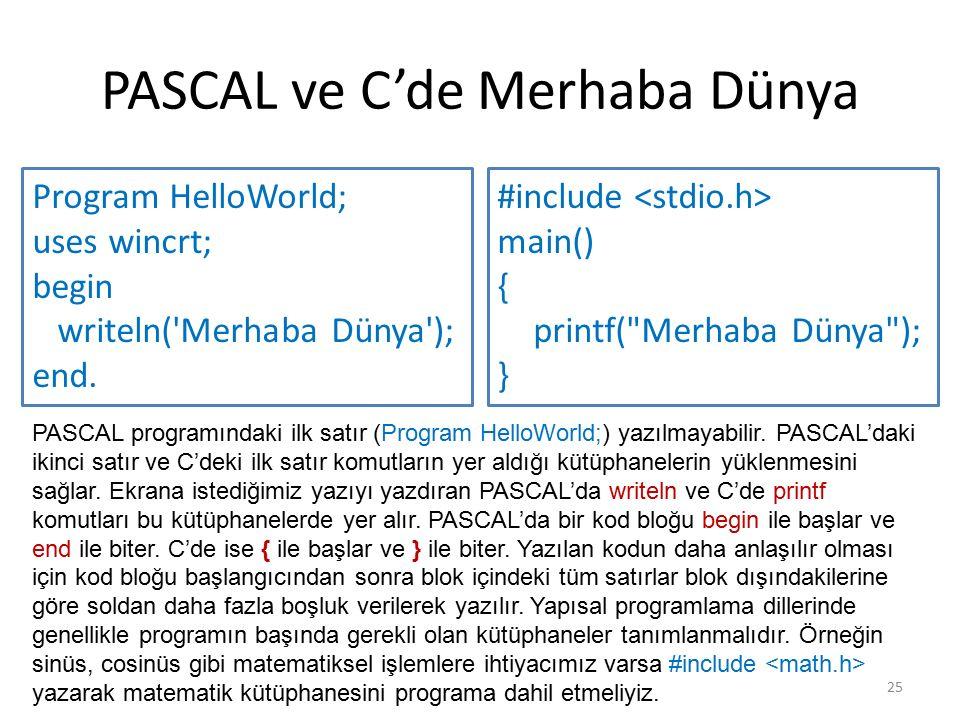 PASCAL ve C'de Merhaba Dünya