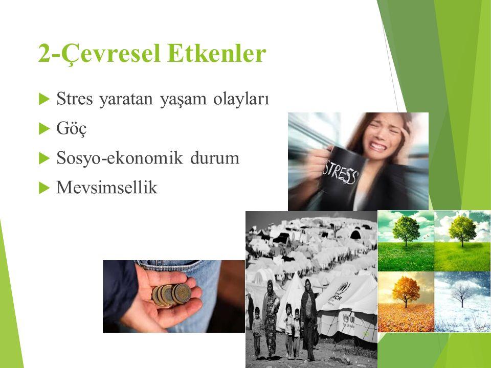 2-Çevresel Etkenler Stres yaratan yaşam olayları Göç