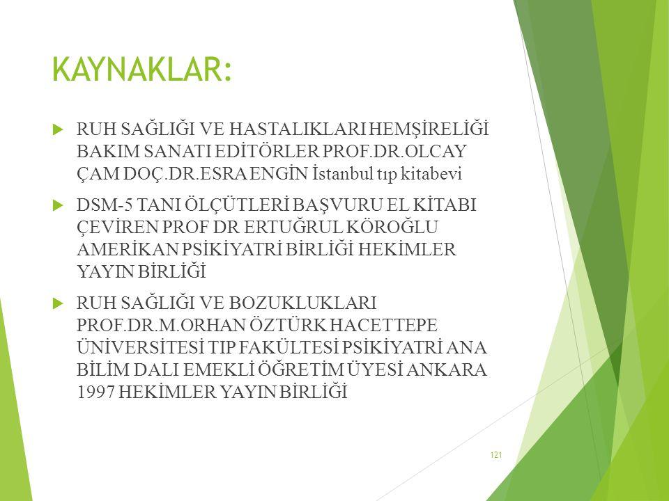 KAYNAKLAR: RUH SAĞLIĞI VE HASTALIKLARI HEMŞİRELİĞİ BAKIM SANATI EDİTÖRLER PROF.DR.OLCAY ÇAM DOÇ.DR.ESRA ENGİN İstanbul tıp kitabevi.